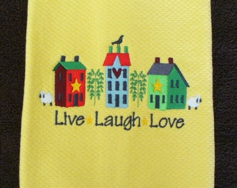 """Yellow cotton kitchen towel with words """"Live  Laugh  Love"""""""