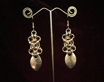Steampunk Chainmaille Earrings - Bronze & Aluminum - Olivia - Chainmail Jewelry