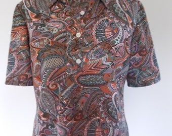 Vintage shirt blouse polo 60s French Paisley print short sleeve  size large