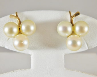14kt Antique Triple Pearl Earrings