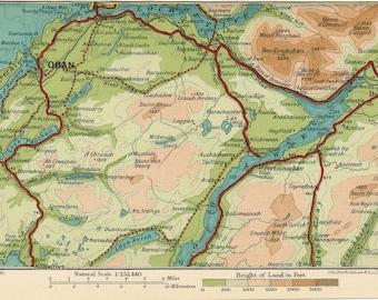 1932 Oban Scotland Antique map