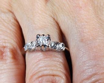 Vintage Diamond Ring 14k Gold Diamond Ring Diamond Engagement Ring White Gold 1960's Pre-Engagement Ring Promise Ring Engagement