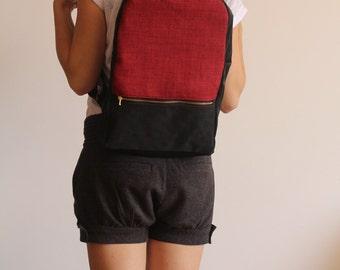 MILAN backpack, Vegan backpack,  Red backpack, school bag, Red and black bag