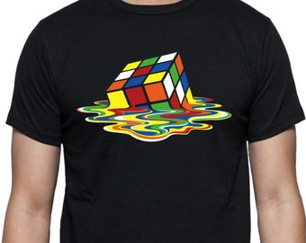 Melting Rubix Cube T-shirt - ECO FRIENDLY PRINT, Big Bang Theory Tee, As Worn By Sheldon, All Sizes
