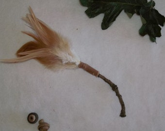 Tan Feather Broom- Incense Wafting Broom- Smudge Wand/Broom for Magic Altars/ Altar Broom
