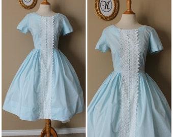 Vintage 1950 ~ 50's Blue Cotton Day Dress. Sky's the limit.