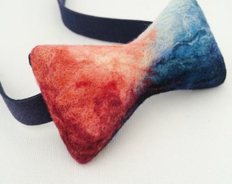 Needle felting art bow tie, unique bow tie packaged in branded wooden box.--20150706Sky.