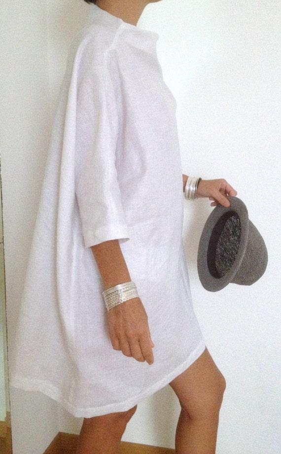 Linen dress plus size clothing linen tunic linen by atelierpop for Linen women s shirt