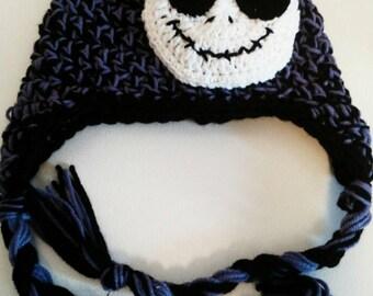 Purple and black crochet nightmare before Christmas hat