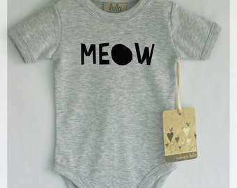 Meow baby clothes.Modern baby clothes, many colors available.