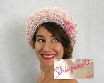 Schiaparelli Pale Pink Ruffles Hat 50s