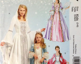 McCalls MP277 - Girl's Princess Dress with Ruffled or Angel Sleeve and Standing Partlet Collar Option - Size Kids 3-8