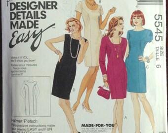 McCalls 5545 - Palmer Pletsch Designer Details Dress with U or Bateau Neckline - Size 6 Bust 30.5 Inches