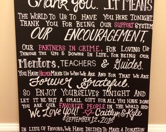 Custom Chalkboard Wedding Reception Sign, Thank You, Real Chalk Board, Wood Sign, White, Paint, Hand Lettered, Custom, Chalk Paint