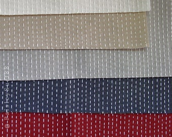 SaLE // Vintage LOT Five (5) High End Sample Pieces PiERRE FREY COPACABANA Fabric Blue Red Ecru Beige Tan Off White  –  As-is