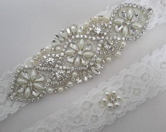 Bridal Garter, Wedding Garter Set,  Garter Set, Ivory Garter, Rhinestone Garter, Pearl Garter, Bridal Garter, Garter, Best Friend Bridal
