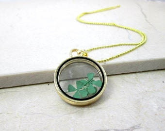 Real Four Leaf Clover Necklace Emerald Green Shamrock Glass Pendant Necklace Irish Jewelry Good Luck Jewelry Nature Necklace Teen Jewelry