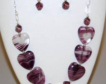 Heart Necklace Earrings Set Amethyst Purple White Pink Glass Beads Glass Hearts Silver Oval Link Necklace Dangle Earrings Set - NS-24