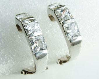 Vintage Sterling Silver Hoop Cubic Zirconia Earrings
