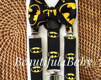 Batman Bow Tie, Batman Suspenders, Toddler Batman, Batman Baby Bow Tie,Batman Suspender and Bow tie Set- 6 Months to 5 Yrs, Batman Inspired