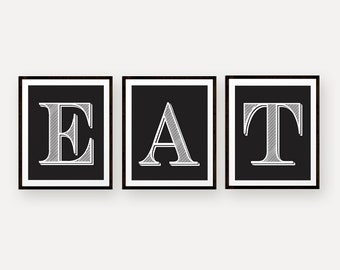 Eat Prints - Set of Three Kitchen Art Prints - Black and White - Vintage Letterpress Style Typography Prints - Modern Kitchen Decor