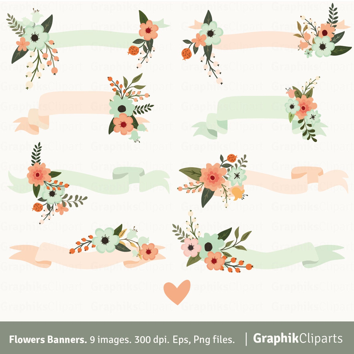 Flowers Banners Clip Art. BANNERS CLIP ART. Floral Ribbons.