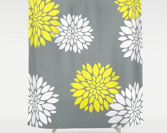 Grey Shower Curtain, Large Shower Curtain, Yellow Shower Curtain, Designer Shower Curtain, Grey Bath Curtain, Shower Curtain 71x74