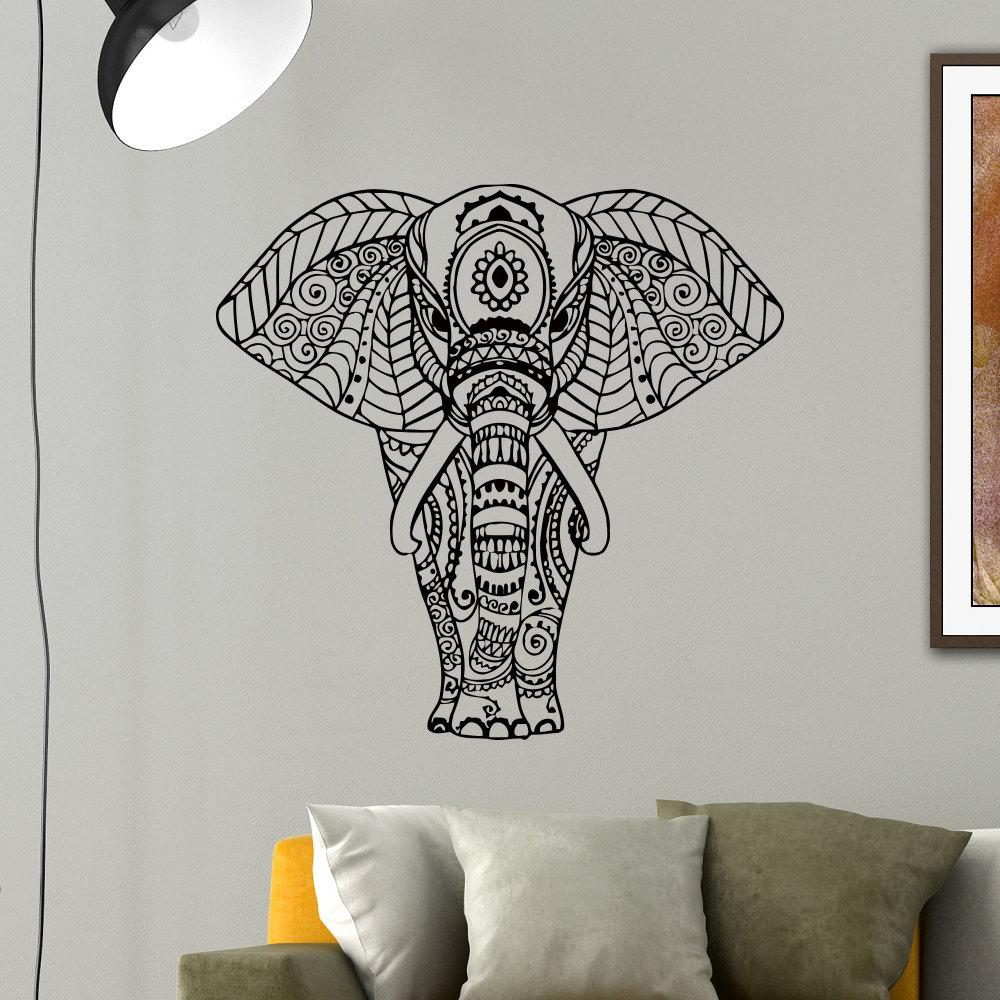 Elephant Wall Decal Vinyl Sticker Yoga Indian Elephant Animal
