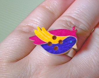Wooden button ring ~ bird or butterfly