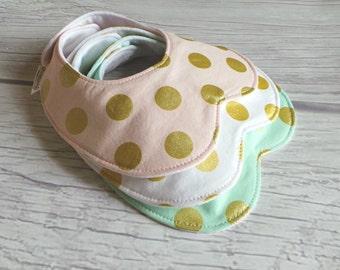 Metallic Polka Dot Peter Pan Collar Bib Set / Baby Girl Bib / Toddler Bib / Drool Bib / Organic Fleece Backing / Gold Polka Dots