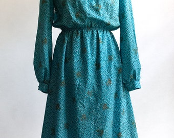 Vintage Dress with floral print // 70s/80s