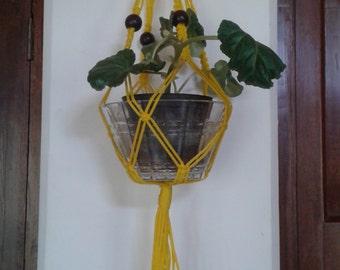 "20% OFF small macrame plant hanger,33"" polycord plant holder,yellow hanging planter,pot holder indoor, outdoor.kitchen planter,bird feeder"