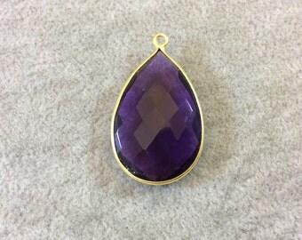 Gold Finish Faceted Rich Purple Quartz Pear/Teardop Shaped Bezel Pendant Component - Measuring 20mm x 30mm - Natural Semi-precious Gemstone
