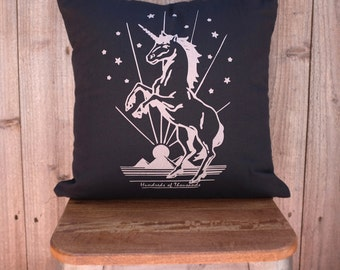Hand Screen Printed Magical Unicorn Pillow - Decorative throw pillow cushion cover
