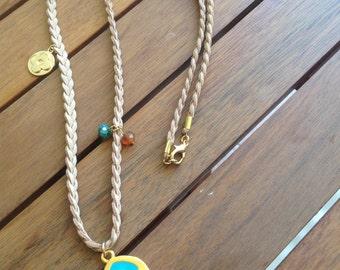 Fish charm necklace, fish necklace, Greek jewelry, plait necklace, summer necklace, beach jewlry, necklace, suede cord necklace, fish, beach