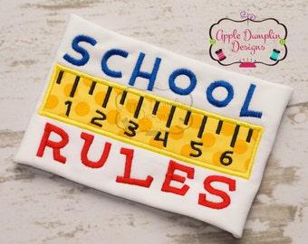 Back to School , Cute School Rules with Ruler Appliqué Machine Embroidery Design, Boy or Girl, Teacher, Preschool, 4x4, 5x7, 6x10, 9x9