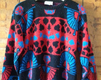 Vintage Red, Black and Blue Metallic 80's Sweater