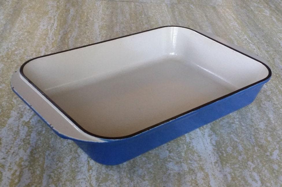 Vintage Le Creuset 30 Rectangle Cast Iron Enamel Lapis Cobalt