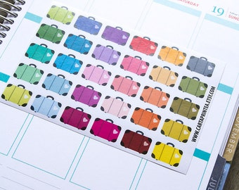 Travel sticker, suitcase stickers, planner stickers, reminder, calendar stickers, blog sticker eclp filofax happy planner