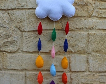 Mobile: felt cloud and raindrop mobile / wall decoration, hand stitched