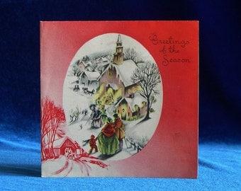 1930's Christmas Card by Paramount Cards Church Scene