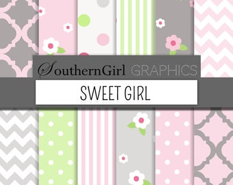 "Sweet Girl Gray Digital Paper - ""SWEET GIRL"" girl baby shower, flower, moroccan, striped, polka dot, green, pink, gray, modern digital paper"