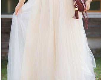 Ivory Champagne Full Length Wedding Bridesmaid Gown Long Tulle Skirt