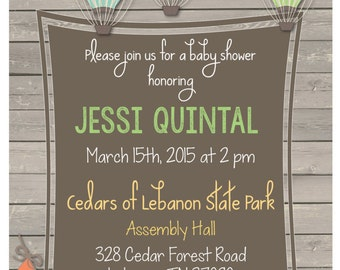 Colorful Hot Air Balloon Invitation (Baby Shower)