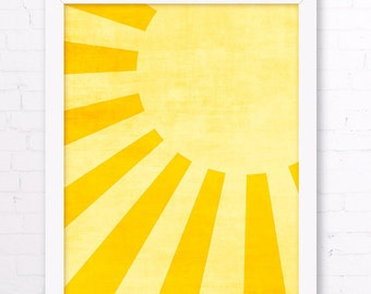 Sunshine Art Print - Yellow Kids Room, Sun Wall Art, Yellow Home Decor, Sunshine Nursery Wall Art