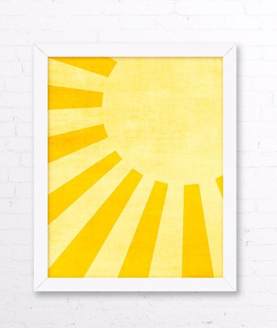 Sunshine Art Print Yellow Kids Room Sun Wall Art Yellow