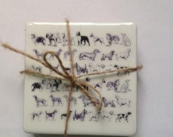 4 Ceramic Dog Design Coasters