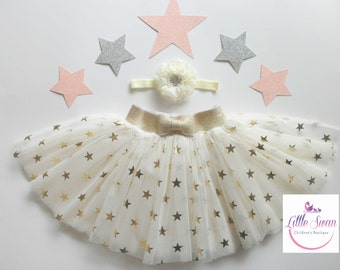 Gold Stars tutu, flower girl dress, sewn tutus,Baby Girl Tulle,TuTu,Toddler tutu,Baby girl skirt,Girl Birthday skirt,Twinkle stars tutu