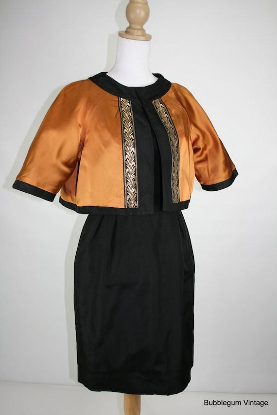 1960s black scoop back cocktail dress with copper reversible jacket 34/26/39