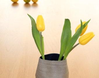 wrinkled ceramic vase, gray ceramic vase, modern vase, gray pottery vase, ceramic flower vase,modern pottery vase,fresh pottery,gray vase